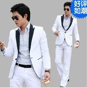 Slim Blazer Suit Set Plus Size Wedding Suits Men Groom grooms clothing / costumes school uniform Moderator
