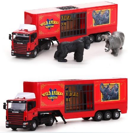1 PC 26cm 1:43 Alloy car model toy truck circus animals orangutan lion hippo gifts(China (Mainland))