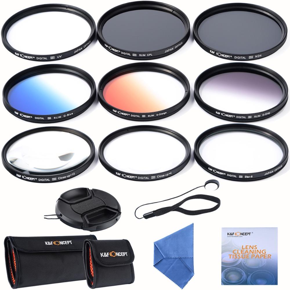 67mm slim UV CPL ND4+ Slim Blue Orange Grey Graduated colour +Macro Close Up +4 +10 +6 Point Star Lens Filter for Camera Lens(China (Mainland))