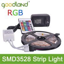 Goodland Brand RGB LED Strip Light SMD3528 DC 12V Flexible LED Light 60LED/m 5m Power Adatpter,Remote Controller;Receptor(China (Mainland))