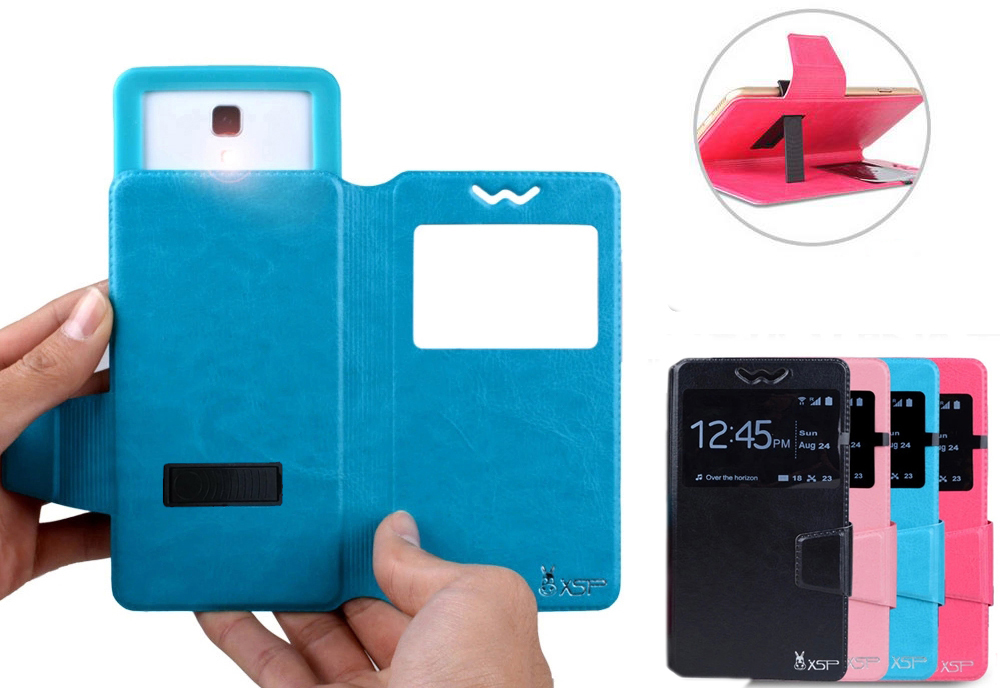Newest Unique Stand Cell Phone Universal PU Leather Flip Cover Case for 5.0 inch Intex Aqua Trend(China (Mainland))