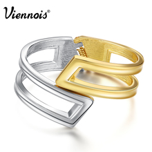 Viennois New Gold & Platinum Plated Cuff Bangle for Women Hollow Out Wide Female Bracelets & Bangles Mixed Color Jewelry(China (Mainland))