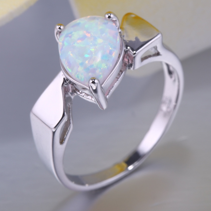 White Fire Opal Rings Simple Casual Water Drop Shape Trendy For Women Engagement Wedding Party Ring Jewelry 3 Claw(China (Mainland))