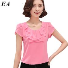 Office Women Shirts Blouses White Pink Purple Elegant Ladies Chiffon Blouse Short Sleeve Womens Tops Chemise Femme DT235(China (Mainland))