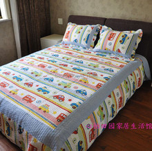 Free shipping!Discount Twin Car Truck Bus Boys Bedding Sets 2/3 Pcs Applique Patchwork Quilt Sets 100% Cotton Bedding for Kids(China (Mainland))