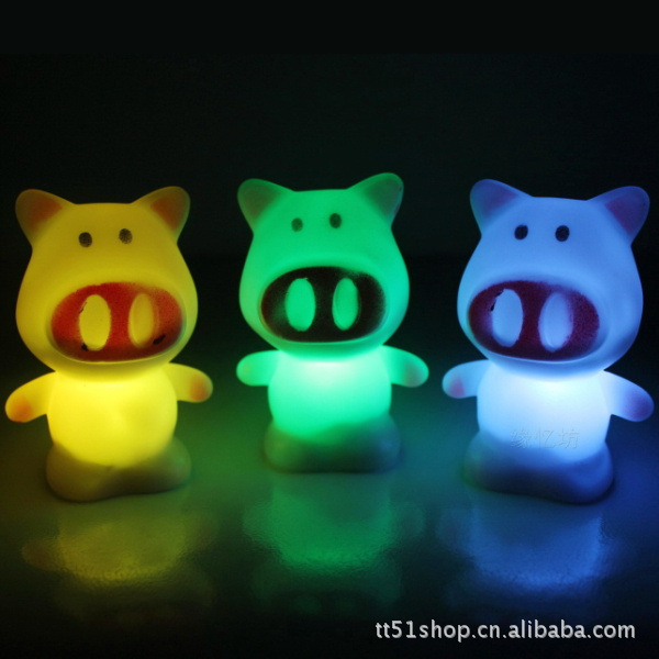 2014 New Lovely Colors Changing LED Little Pig Night Light Decoration Candle Lamp Nightlight,great gift for kids(China (Mainland))
