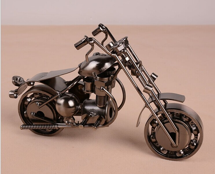 Modern Style Iron Exquisite Antique Motorcycle Model Metal Craft Home Decoration Birthday Gift(China (Mainland))