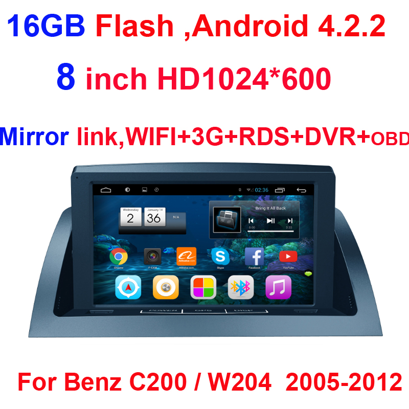 HD 1024*600 2 Din Android 4.2.2 Car DVD Player GPS Navi For Mercedes Benz C200 / W204 2005 2006 2007 2008 2009 2010 2011 2012(China (Mainland))