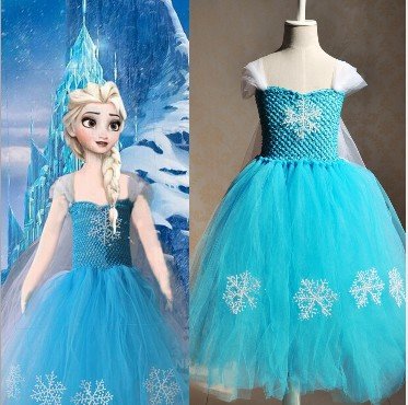 IN STOCK 2015 New Desigual Summer Style Anna Elsa Princess Tutu Dress, Girls Lace Party Costume, Kids Cartoon Vestidos De Menina<br><br>Aliexpress