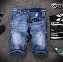 2016 New Designer Summer Ripped Jeans Men Casual Denim Shorts Slim Straight High Quality Hole Denim