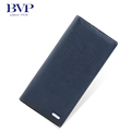BVP Brand High End Genuine Cow leather Men s Long Wallets Solid Color with Natual Closure