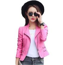 Ladies coat women 2016 new arrival leather jacket women short slim motorcycle leather clothing female outdoor jacket black red(China (Mainland))