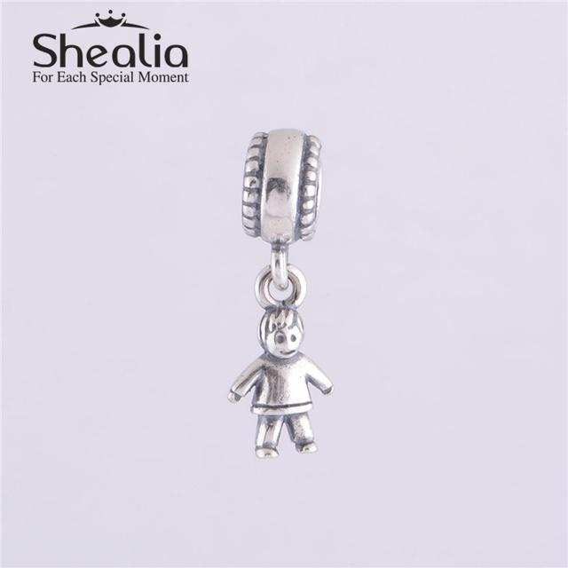 Аутентичные 925 стерлингового серебра Fmaily тема мальчик мотаться подвески DIY ремесло бусины изготовления ювелирных изделий подходит европейский браслеты