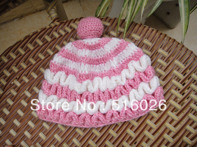 Holiday Sale wholesale Handmade Crochet Baby Hats pink with white  Newborn Gift  hats Toddler Children's hat beanie milk cotton