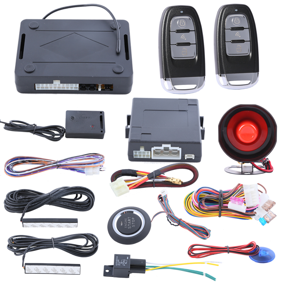 Universal PKE car alarm system with remote engine start/stop function, power window output and intruding warning push start stop(China (Mainland))