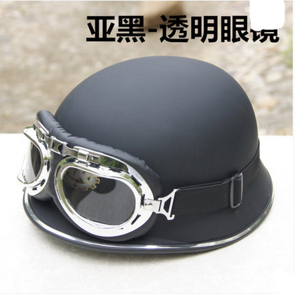 WWII German germany helmet Half face Cruiser Motorbike Casco Motorcycle Matt Black Helmet & Clear Goggles For Summer(China (Mainland))