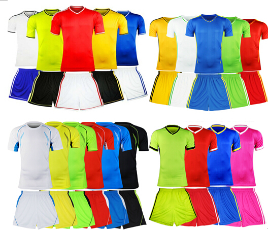 Promotion Top quality 2015 New Soccer jersey short sleeve blank shirts personalized customize soccer uniforms 20 colors 4styles(China (Mainland))