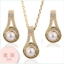 Fashion Jewelry Pendants Necklaces Stud Earrings Simulated Pearl 18K Gold Plated Silver Plated Wedding Jewelry Set For Women(China (Mainland))