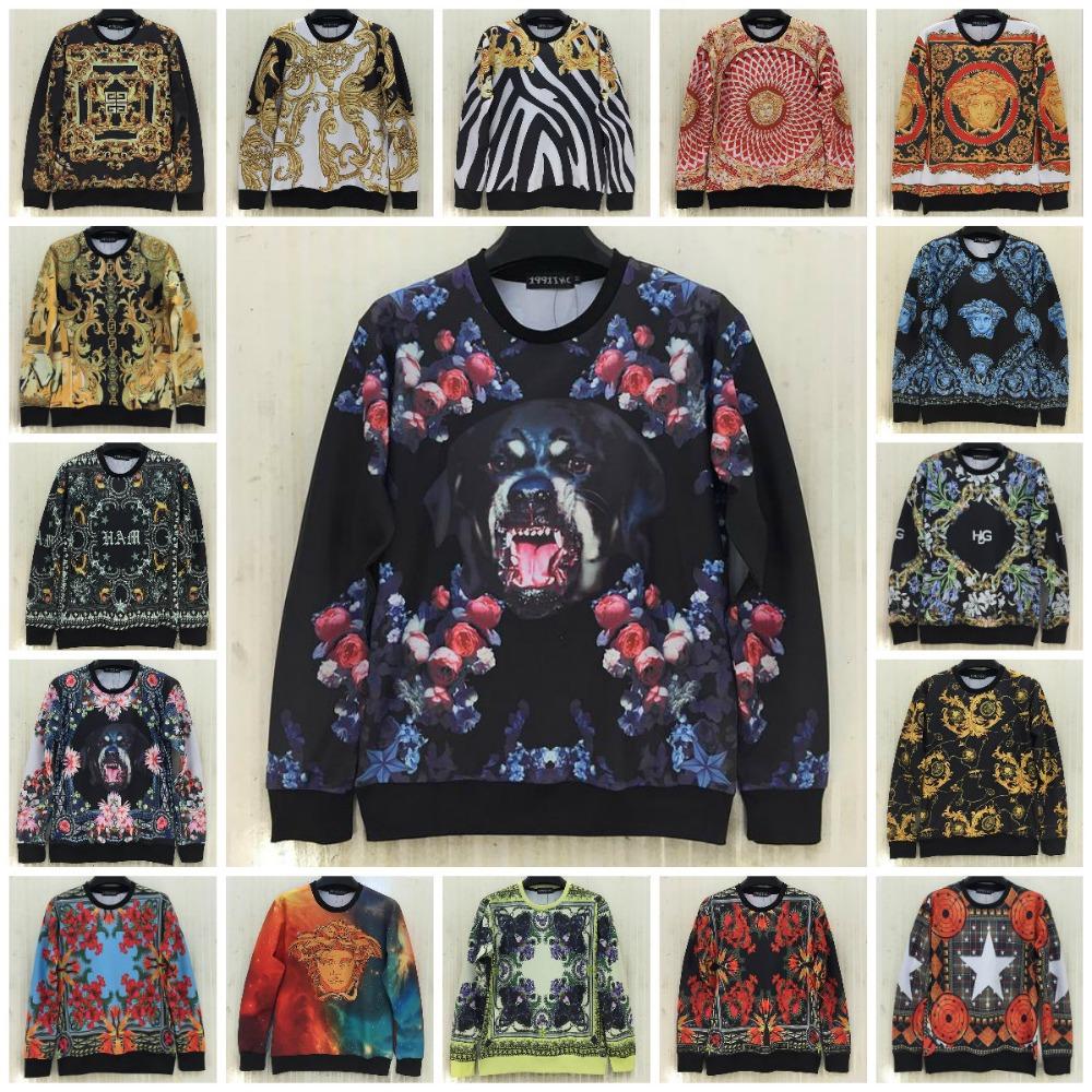 2015 Autumn New Fashion Vintage Pattern Printed Unisex Funny Sweatshirt Medusa Lion Head Hoodies Women/Man Casual Tops Size S-XL(China (Mainland))