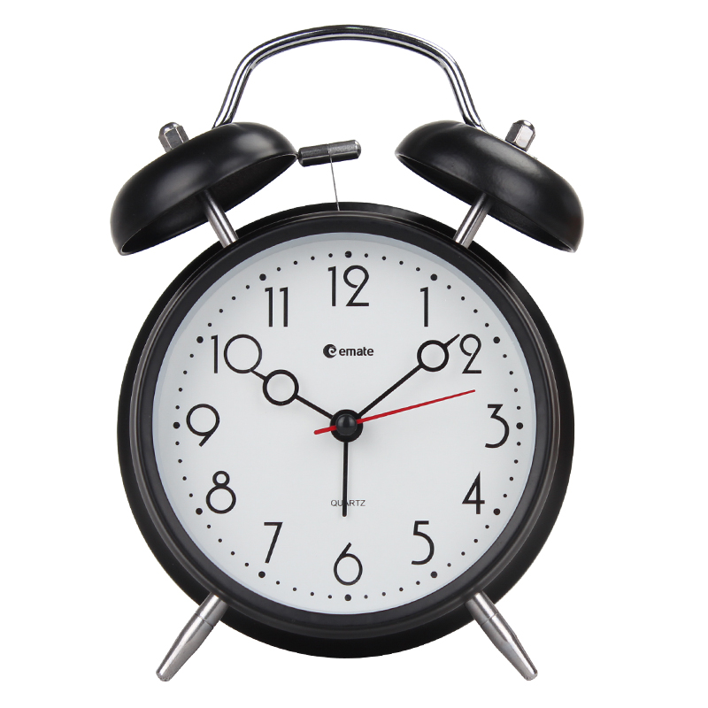 New Modern Analog Table Desktop Silent Alarm Clock with Hammer Metal Twin Bell and Nightlight Free Shipping(China (Mainland))