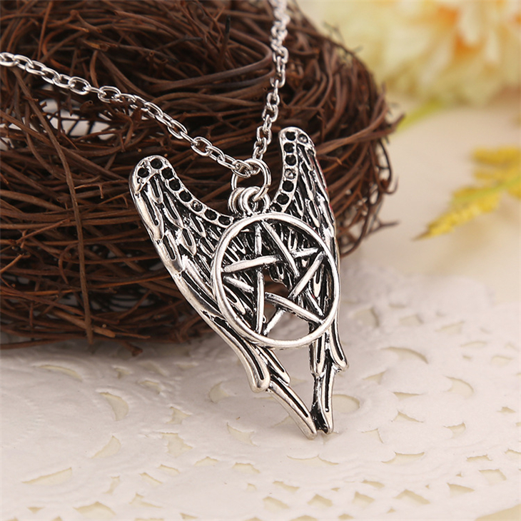 Supernatural necklace pentagram Pentacle Castiel angel wings vintage antique silver pendant jewelry for men and women wholesale(China (Mainland))