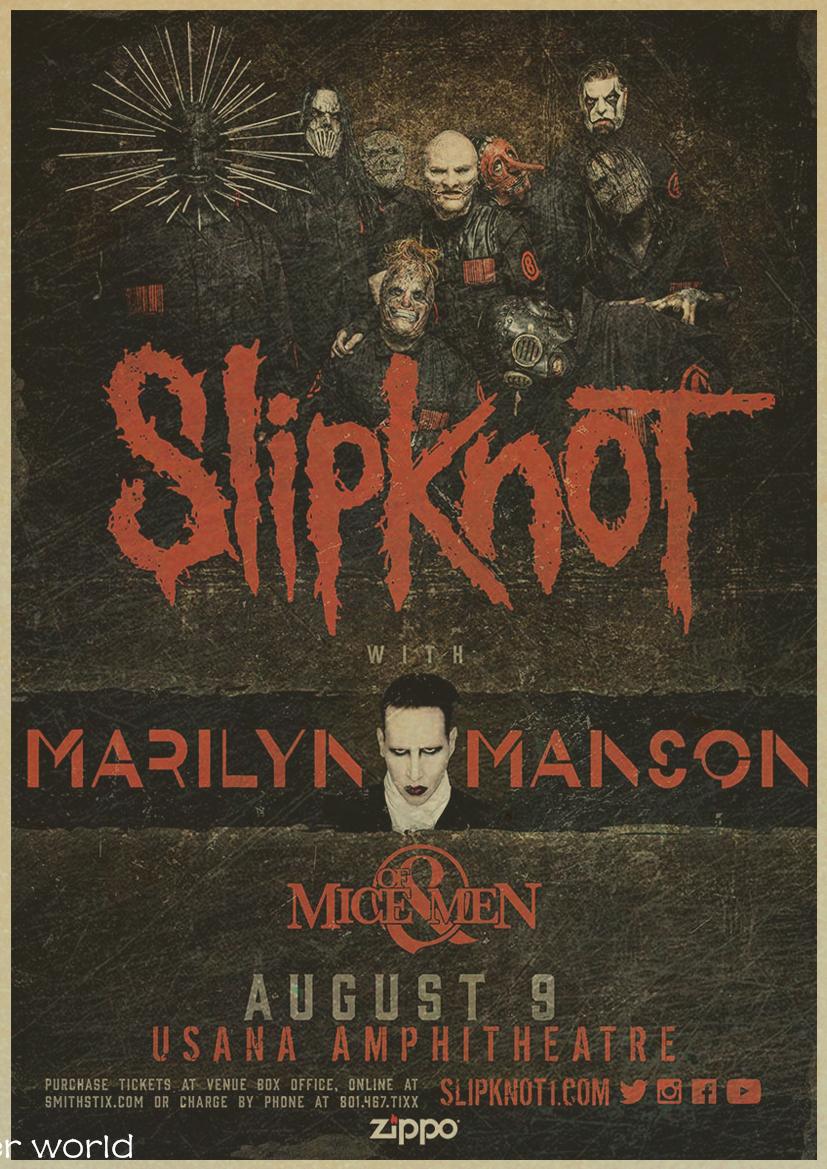 Slipknot Music bar cafe decoration Vintage Style Retro Paper Poster wall sticker home decor
