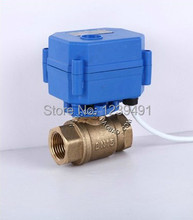 "Brass Motorized Ball Valve 1"" DN25 DC12V Electric Ball Valve CR-01/CR-02/CR-05 Wires(China (Mainland))"