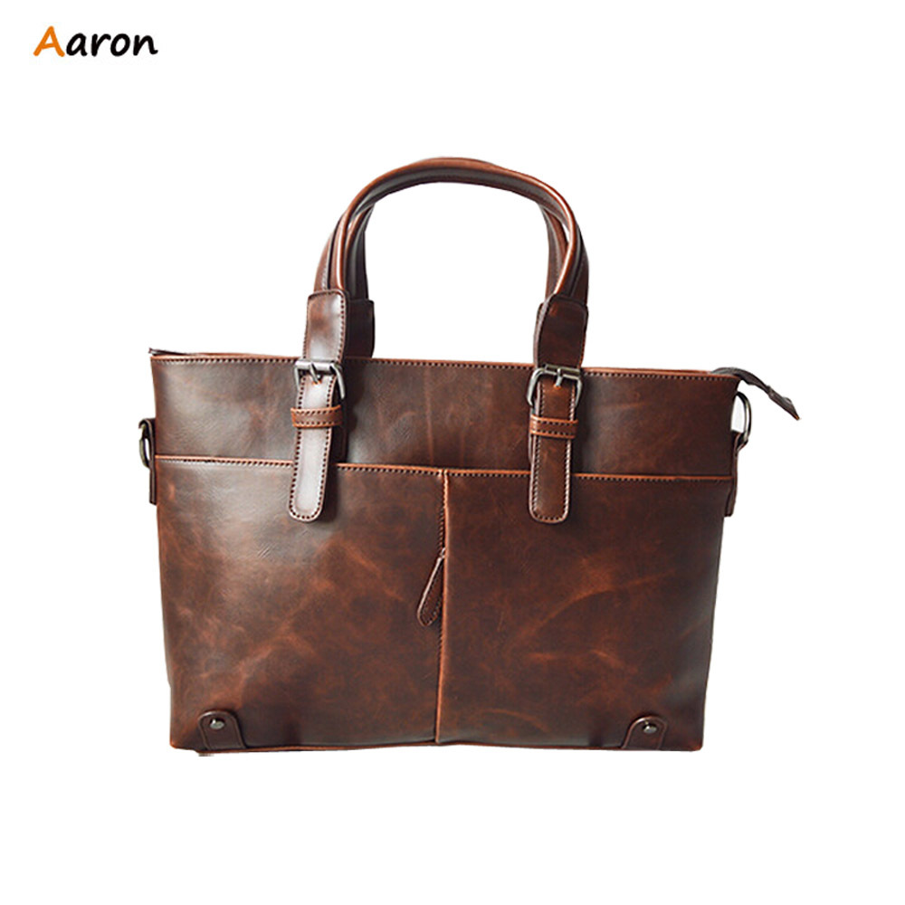 AARON-Retro Antique Style Casual Business Men's Leather Briefcase Bag,Vintage Brown/Black Large PU Leather,Mens Laptop Bag(China (Mainland))