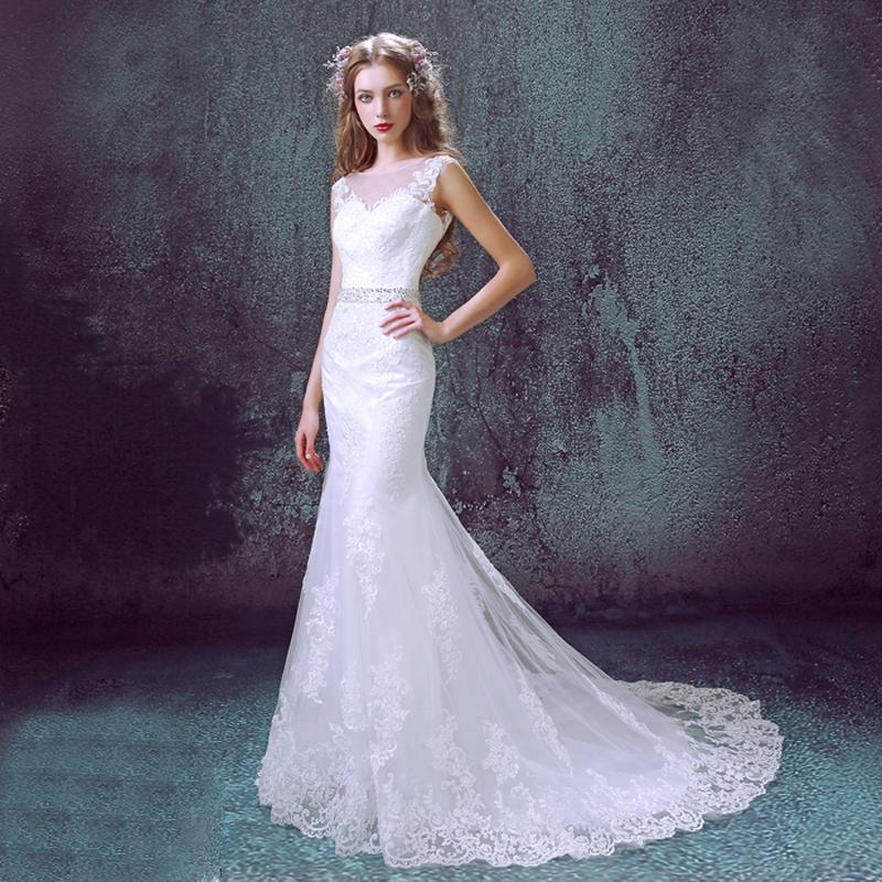 Elegant luxury lace backless mermaid wedding dress 2016 deep V-neck white decals bride dress plus size belt.2329.ty,hd(China (Mainland))