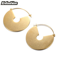 Enfashion Vintage Big Circle Dangle Earrings Matte Gold color Earings Drop Earrings For Women Long Earring Jewelry brinco(China (Mainland))