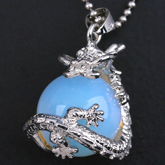 UMY Wholesale Silver Plated Opalite Opal Round Bead Chinese Style Dragon Pendant Charm Jewelry(China (Mainland))