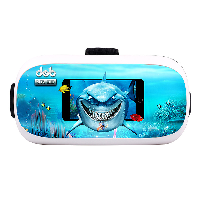 Shark Cartoon Fully Adjustable 3D VR Glasses for Video, Movies, Pictures 360 VR Headset for Gaming Comfortable and Easy to Use(China (Mainland))