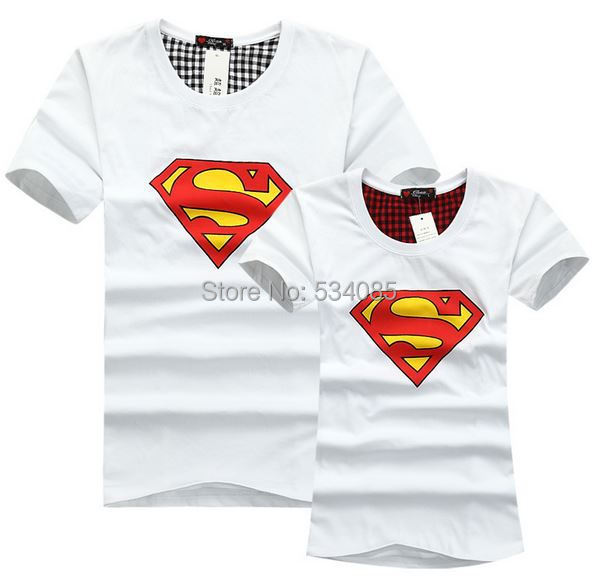 New 2014 Men's women's T-shirt tops Superman printing shirt summer t shirt short-sleeve T-shirt short-sleeve lovers clothes(China (Mainland))