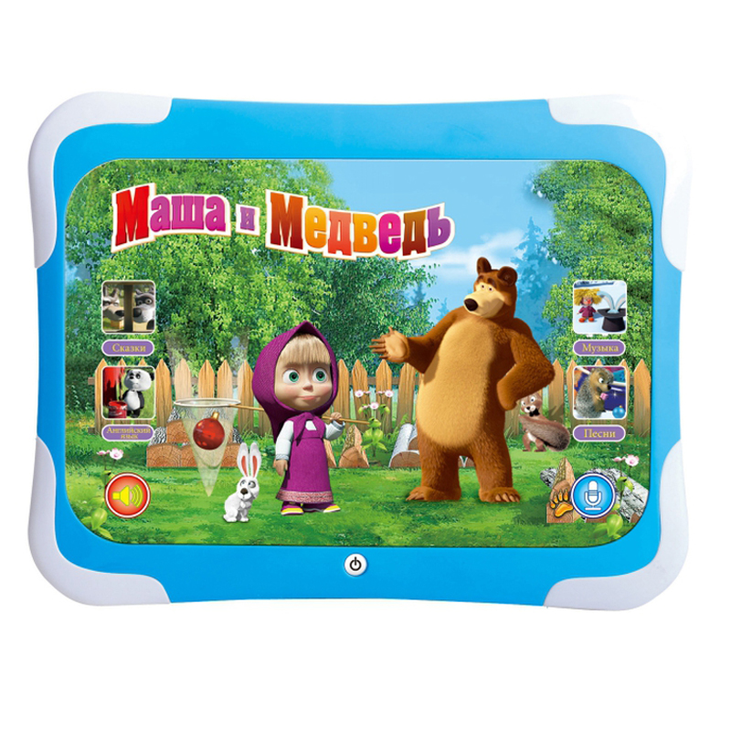 3D Learning Computer Tablet Pad Toy Masha And Bear Kids Study Pad Children'S Electronic Music Toys Electronic Learning Machine(China (Mainland))