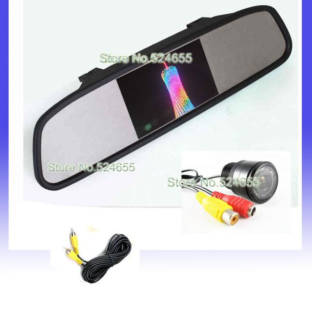 4.3inch visable parking systems car rear mirror monitor  + hd car backup camera   Free shipping
