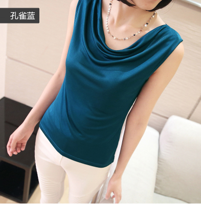 100% mulberry silk women shirts loose vest large brimmed knitted blouse t-shirt Pure Silk Cowl collar vest-b180-1 - life House store