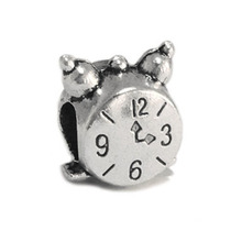 Free Shipping Silver Plated Lovely Small Alarm Clock Alloy Bead Charms Fit Women Diy Pandora Bracelets & Bangles Necklace B55(China (Mainland))