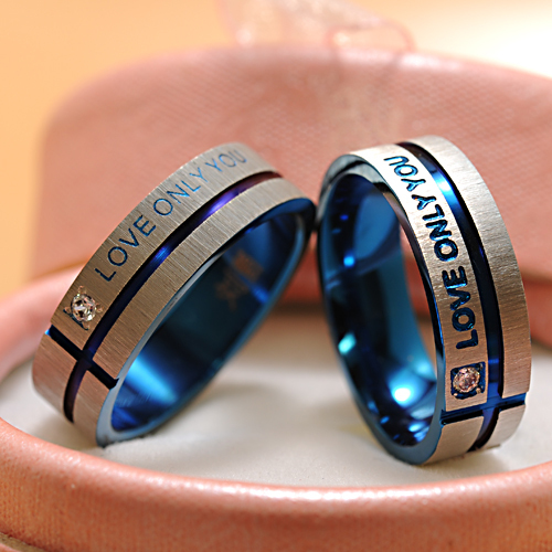Fashion Jewelry 316L Stainless Steel Simple Circle Love Only You Couple RingsWedding Ring