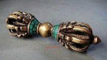 Tibetan Buddhism Bronze Turquoise Buddhist Ritual Tool Hand Vajra Dorje statue