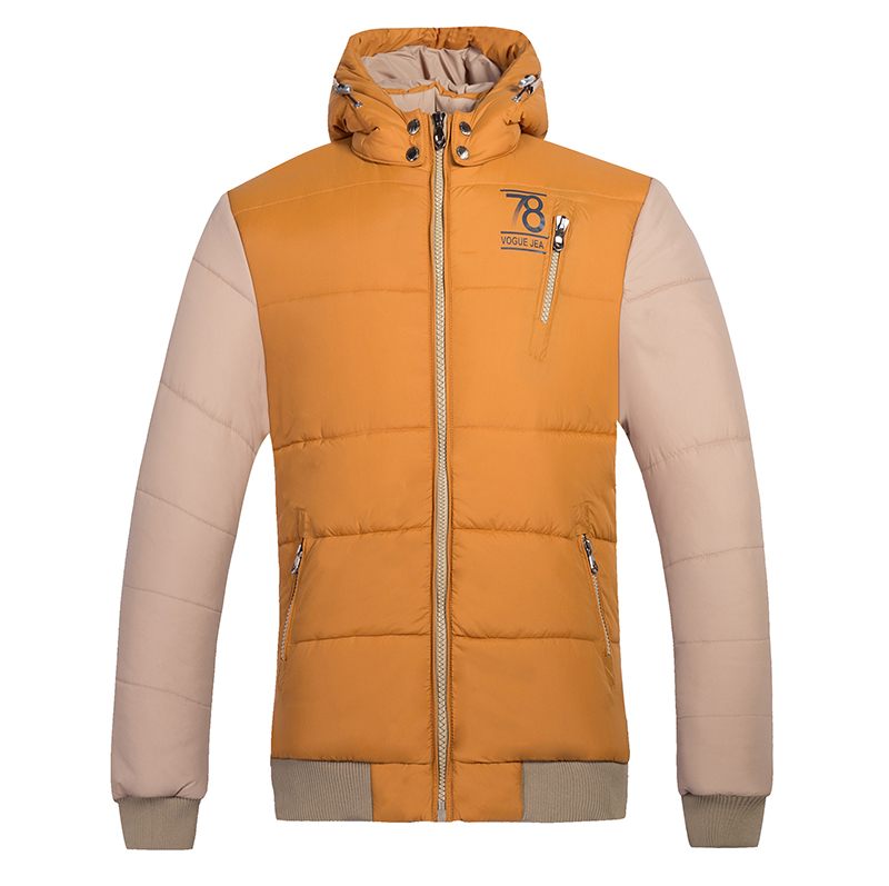2015 Contrast Color Hooded Men Parka Stand Collar Men s Winter Thick Down Jacket Male Outwear