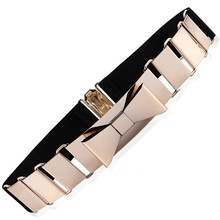 Most Popular Women's Belt Cut Out Gold Metal BOW Belt With Multi Elastic Good Quality Hook Closure Belt For Women Luxury Strap(China (Mainland))