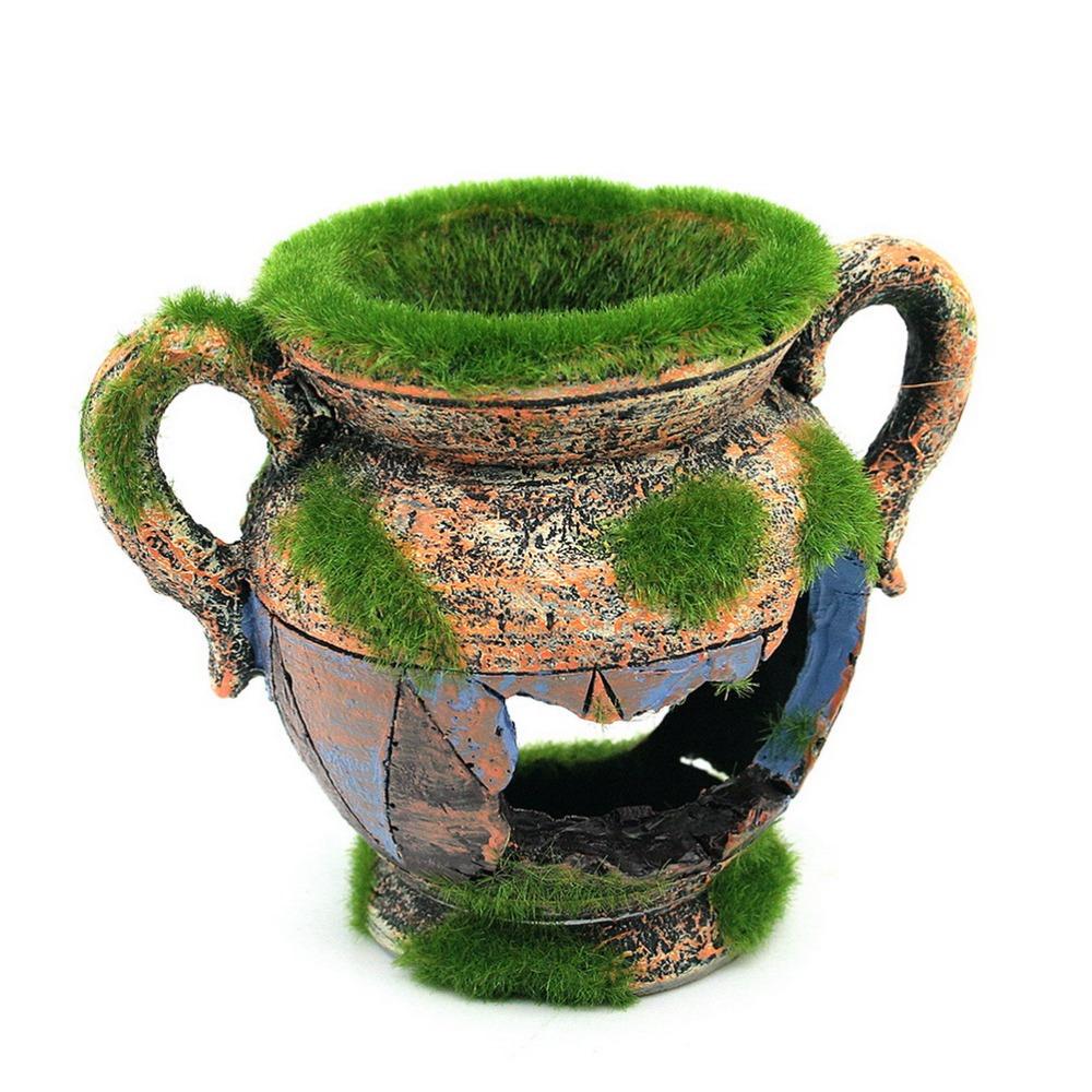 1pcs resin vase with moss aquarium decoration fish tank for Aquarium vase decoration
