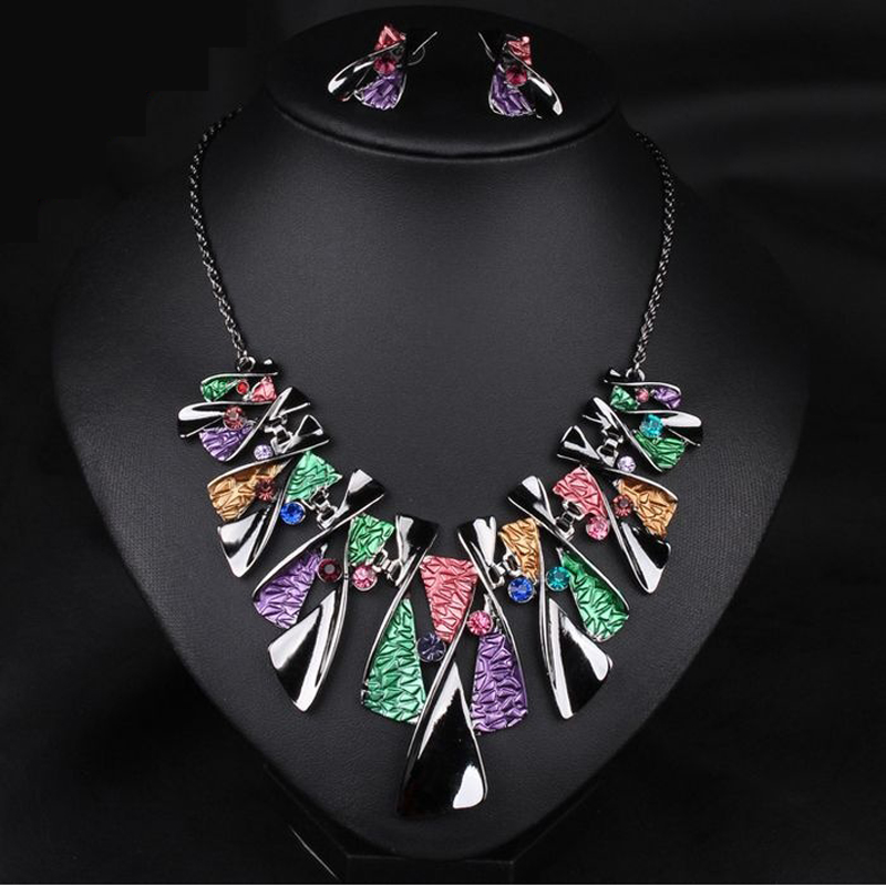 women America jewelry sets suit fashion bride female short statement necklace + earrings colors big female girlfriend gift(China (Mainland))