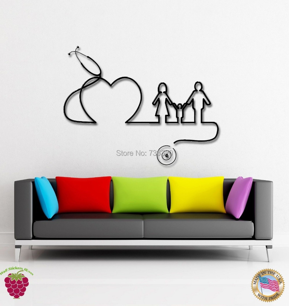 Hospital clinic vinyl wall decal hospital doctors family for Artwork for wall decoration