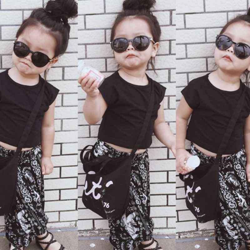 2016 INS Baby Store Baby Girl's Black T-shirt Tee + Print Pant (2pcs/set) Clothing Set 12M-5T(China (Mainland))