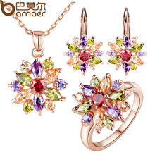 BAMOER 18K Rose Gold Plated Jewlery Sets for Women with High Quality Multicolor AAA Zircon Wedding & Engagement Jewelry(China (Mainland))