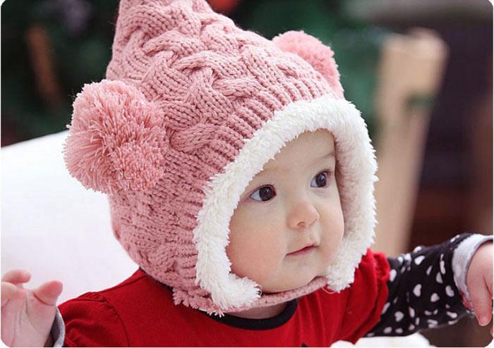 Отлично прекрасный шерсть зимняя шапка Kid ребенка смазливая двойные мячи девушка мальчики согреться шапочка унисекс кепка бесплатная доставка