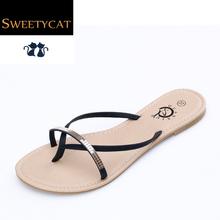 New 2016 T-Strap women flip flops Beach sandals fashion Bling slippers summer women flats shoes woman flat sandals L50