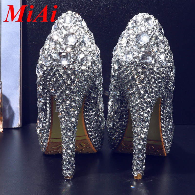 women pumps 2016 new fashion crystal shoes wedding shoes woman pumps sexy white platform rhinestone high heels shoes party shoes