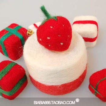 2013 Biabia wool felt poke fun material handmade diy kit set small strawberry  Free shipping